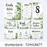 Wedding invite, invitation menu rsvp thank you card vector floral greenery design: Forest fern frond, Eucalyptus branch green leaves foliage herbs greenery berry frame border. Watercolor template set  | Shutterstock vector #724418677