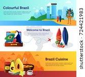 brazil travel 3 flat horizontal ... | Shutterstock . vector #724421983