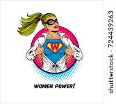 women power. pop art sexy... | Shutterstock .eps vector #724439263
