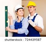 positive female constructor... | Shutterstock . vector #724439587