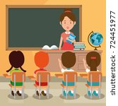 back to school teacher teaching ... | Shutterstock .eps vector #724451977