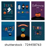 cute halloween cards. vector... | Shutterstock .eps vector #724458763