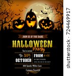 halloween party invitation with ... | Shutterstock .eps vector #724469917