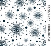 snowflake seamless pattern or... | Shutterstock .eps vector #724470793