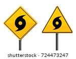 hurricane road signs set  | Shutterstock .eps vector #724473247