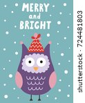 merry and bright christmas... | Shutterstock .eps vector #724481803