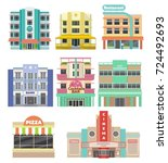set of buildings on miami beach.... | Shutterstock .eps vector #724492693