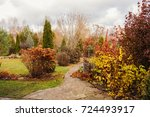 late autumn private garden view ... | Shutterstock . vector #724493917