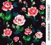vintage rose flowers vector... | Shutterstock .eps vector #724501267