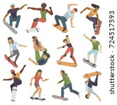 skateboarders people tricks... | Shutterstock .eps vector #724517593