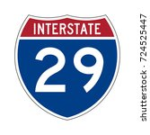 interstate highway 29 road sign | Shutterstock .eps vector #724525447
