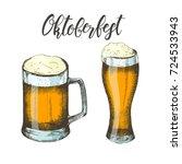 oktoberfest hand drawn colored... | Shutterstock .eps vector #724533943