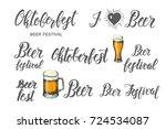 oktoberfest lettering set.... | Shutterstock . vector #724534087
