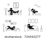 stick figure resting at home... | Shutterstock .eps vector #724542277