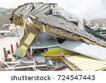 Small photo of St.Maarten Oyster Pond September 2017: Hurricane Irma category 5 completely damage a store building to the ground