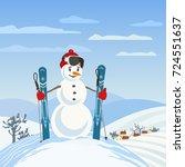 snowman rural skier in mountain ... | Shutterstock .eps vector #724551637