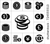 coin isolated flat vector icons ... | Shutterstock .eps vector #724555513