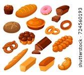 bread and rolls. fresh food... | Shutterstock .eps vector #724560193