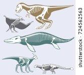 dinosaurs skeletons silhouettes ... | Shutterstock .eps vector #724562563