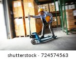 customs manager drives forklift ... | Shutterstock . vector #724574563