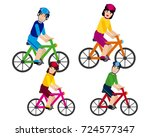 family walking on a bicycle | Shutterstock .eps vector #724577347