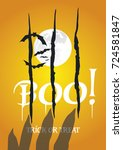 boo scary fingers scratched... | Shutterstock .eps vector #724581847
