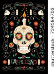 mexican day of the dead poster... | Shutterstock .eps vector #724584703