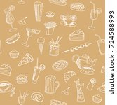 food and drinks vector seamless ... | Shutterstock .eps vector #724588993
