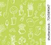 gardening sketch seamless... | Shutterstock .eps vector #724589047