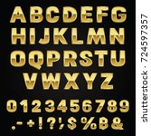 gold alphabet fonts and numbers ... | Shutterstock .eps vector #724597357