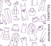 fashion clothes sketch seamless ... | Shutterstock .eps vector #724597753