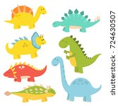 cartoon dinosaurs vector... | Shutterstock .eps vector #724630507