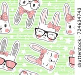 seamless pattern with cute... | Shutterstock .eps vector #724634743