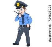 cartoon police officer ... | Shutterstock .eps vector #724635223