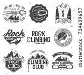 set of rock climbing club... | Shutterstock .eps vector #724639657