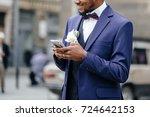 portrait of handsome african... | Shutterstock . vector #724642153