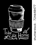 coffee cup and lettering  white ... | Shutterstock .eps vector #724648477