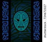 maori mask with tribal pattern | Shutterstock .eps vector #724672327