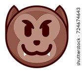 vector cartoon werewolf emoji...   Shutterstock .eps vector #724674643
