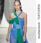 Small photo of NEW YORK, NY - September 10, 2017: Othilia Simon walks the runway at the Prabal Gurung Spring Summer 2018 fashion show during New York Fashion Week