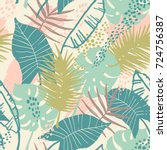 seamless exotic pattern with... | Shutterstock .eps vector #724756387