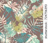 seamless exotic pattern with... | Shutterstock .eps vector #724756393