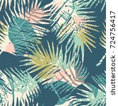 seamless exotic pattern with... | Shutterstock .eps vector #724756417