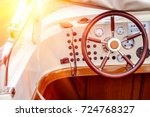 control panel and helm on motor ... | Shutterstock . vector #724768327