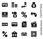 16 vector icon set   card  coin ... | Shutterstock .eps vector #724797343