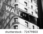 Wall Street Sign In Black And...