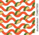 taco seamless pattern vector...   Shutterstock .eps vector #724807003