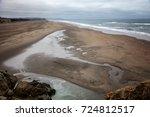 large deserted beach  beautiful ... | Shutterstock . vector #724812517