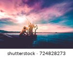 father and son fishing asian... | Shutterstock . vector #724828273