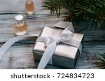 elegant gift in the package and ... | Shutterstock . vector #724834723